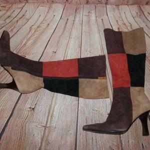 Carlos Santana Square Toe Faux Suede Sz 6 Boots